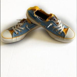 Converse All Star Low Tops Size 6 blue & yellow